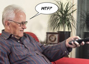 old man w tv